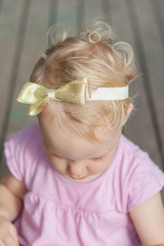 Baby gold headband Infant gold headband gold bow by LaCharDesigns, $8.20