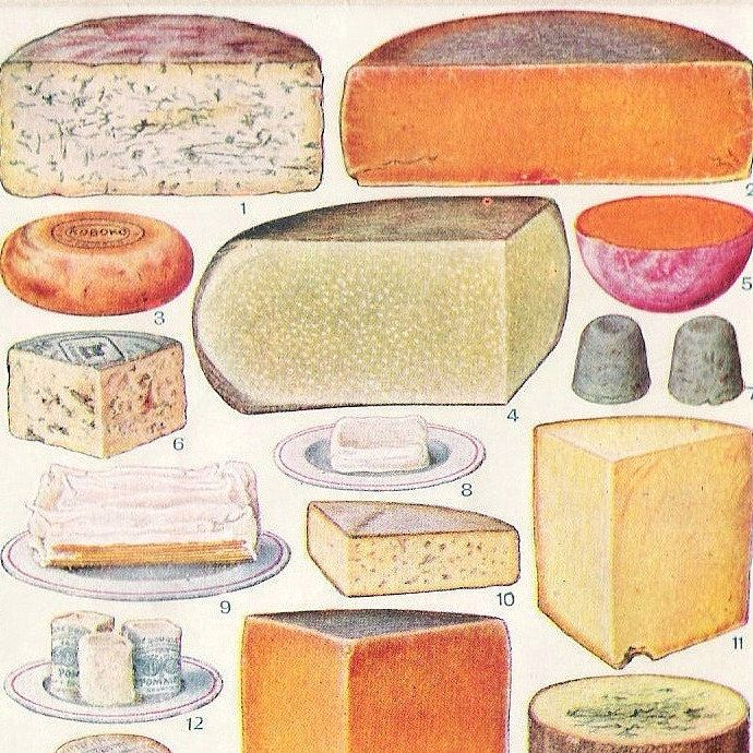 use for chalk illustration examples    Mrs Beeton's Cheese Board
