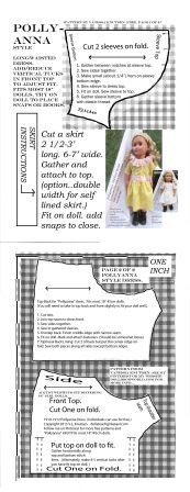 """POLLYANNASTYLEDRESS 2PGS - Click on the website below...Then click on the dollbookworld PDF link for this pattern. Have fun. Pattern is free. Make vertical tucks for narrower 18"""" girl dolls."""