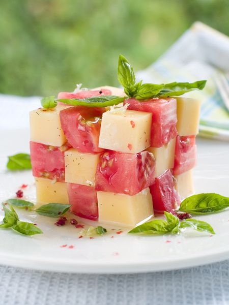 Cool idea for serving the classic mozzarella and tomato salad.