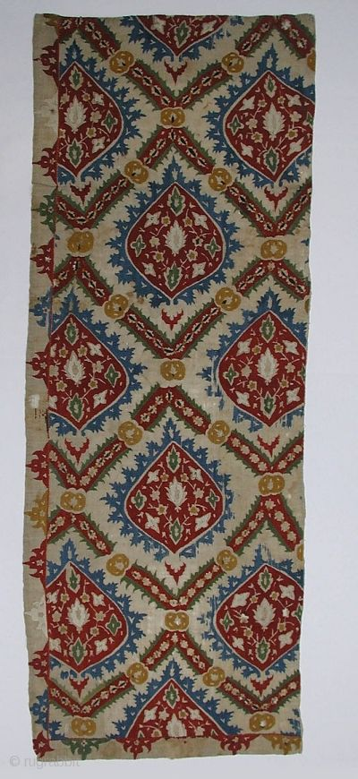 Object Name: Fragment Date: 17th–18th century Geography: Turkey Medium: Linen, silk; plain weave, embroidered Dimensions: H. 48 1/4 in. (122.6 cm) W: 17 1/2 in. (44.5 cm) Classification: Textiles-Embroidered Credit Line: Anonymous Gift, 1879 Accession Number: 79.1.19