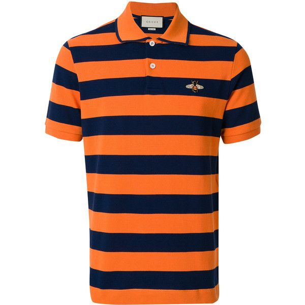 Gucci bee patch polo shirt found on Polyvore featuring polyvore, men's fashion, men's clothing, men's shirts, men's polos, mens navy shirt, mens orange polo shirt, men's cotton short sleeve shirts, mens striped short sleeve shirt and mens stripe shirts