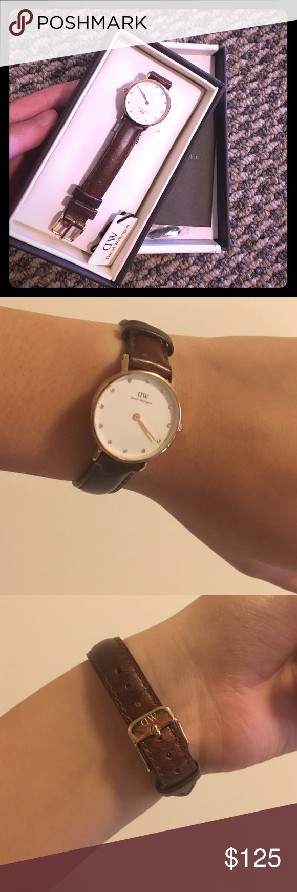 Daniel Wellington watch auth Bought it last year. Only wore once. Since I am not the person who like wearing watches, I want to sell it. It is in the perfect condition. Still has the warranty card inside. This is a small case diameter. The original price is around 160 dollars including the tax. Now, I would like to sell at 125. Daniel Wellington Accessories Watches