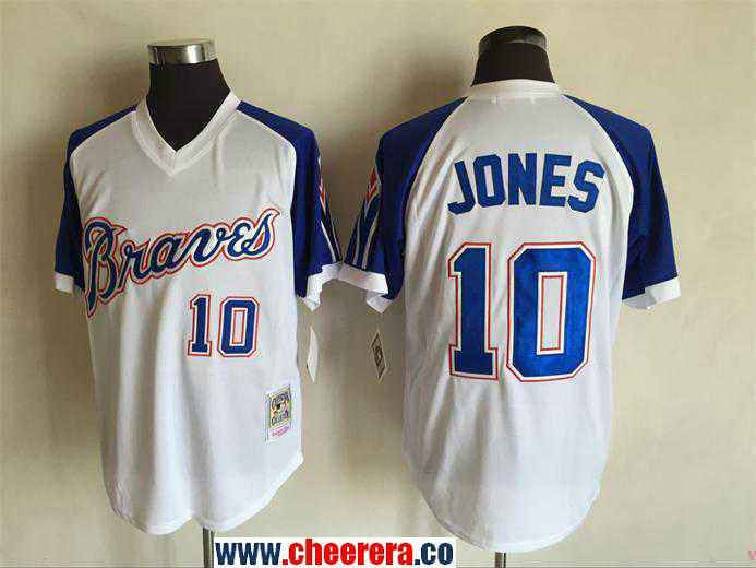mens atlanta braves 10 chipper jones 1974 white stitched mlb throwback jersey by mitchell