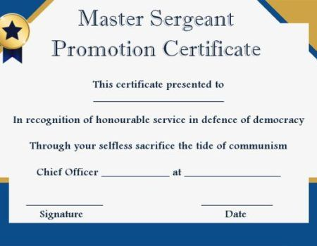 msgt promotion certificate template promotion certificate template