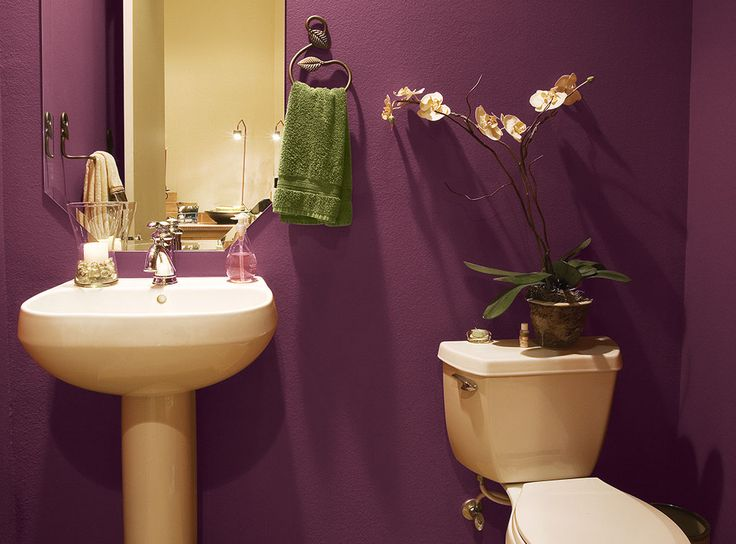 Deep Purple And Burgundy Transform A E From Drab To Regal In This Bathroom