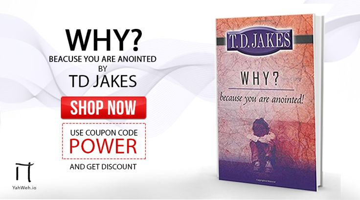 """""""Because you are anointed!"""" - A book by #Bishop T.D Jakes is the answer of your """"Why?"""" in life. Get yours now form #YahWeh. Don't forget to use coupon code POWER to avail special discount.  https://yahweh.io/products/why-because-you-are-anointed  #TDJakes #TDJakesBooks #InspirationalBooks #ReligiousBooks #ReligiousStore"""