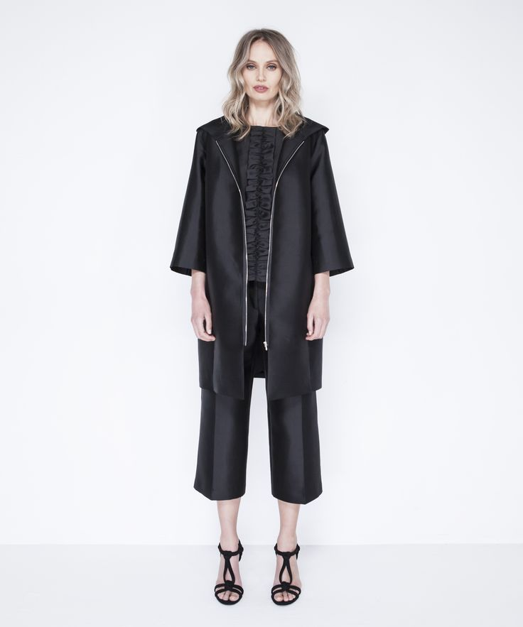 Gala Coat - Black, Mica Shell - Black, Silk Culottes - Black
