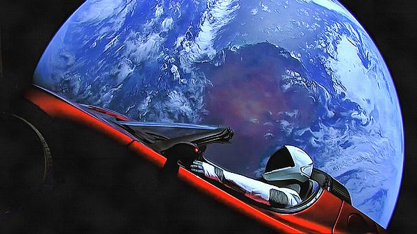 Starman in Tesla, Posters and Prints for sale. Elon Musks (SpaceX) red Tesla Roadster on a mission to Mars with the blue Planet Earth in the background. Cool eyecatcher for your room or office, click through and get inspired!