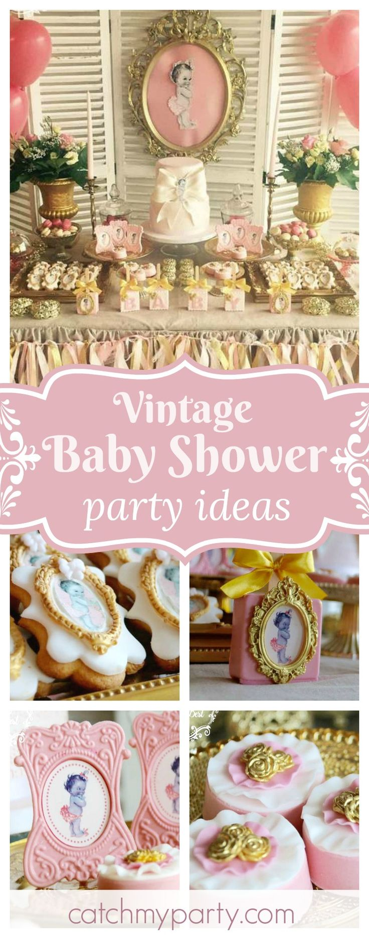 Fall in love with this gorgeous Vintage Baby Doll Baby Shower. The dessert table is stunning!! See more party ideas and share yours at CatchMyParty.com