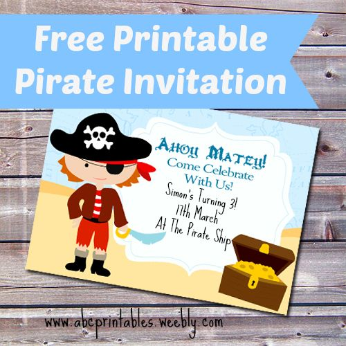 14 best Free Printable Birthday Party Invitations Templates – Pirate Party Invitation Templates