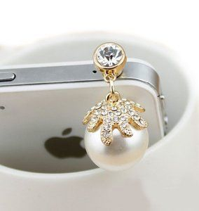 Tori pearl flash diamond dust plug headphone plug beautiful dust plug for phone