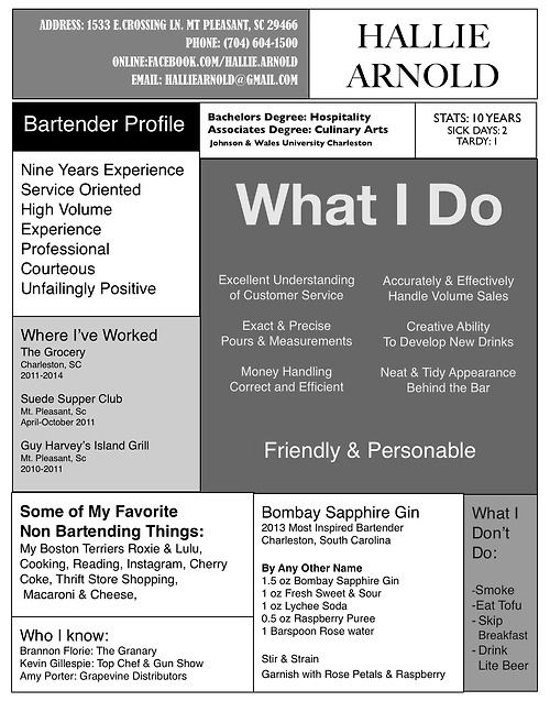 8 best cool resume images on Pinterest Resume, Resume examples - bartending resumes