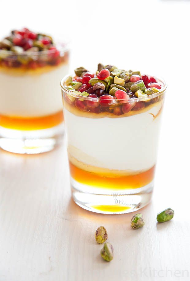This yogurt dessert has middle eastern flavor due to the use of the rosewater. use a good honey and fresh pomegranate and you'll love it