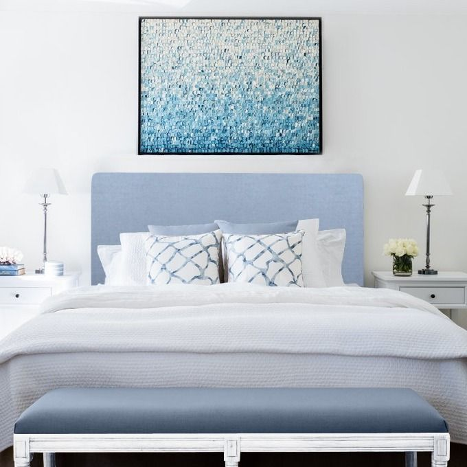 Duck egg blue linen bedhead from Lavender Hill Interiors.