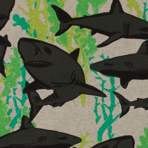 Stretch jersey grey melange w sharks - Stoff & Stil