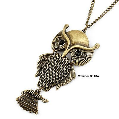 Korean Retro Fashion OWL Pendant Sweater Chain General. Small and catchy. REPIN if you like it. Only 30.5 IDR