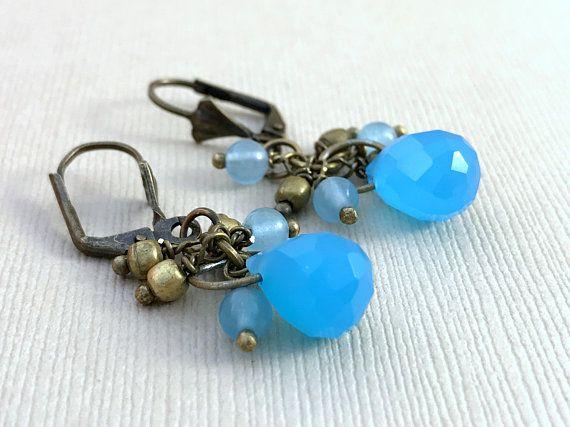 Brass Blue Gemstone Earrings  Blue Drop Earrings Brass Earrings Boho Earrings Bohemian Jewelry Gift for Her Dangle Earrings Gift for Women