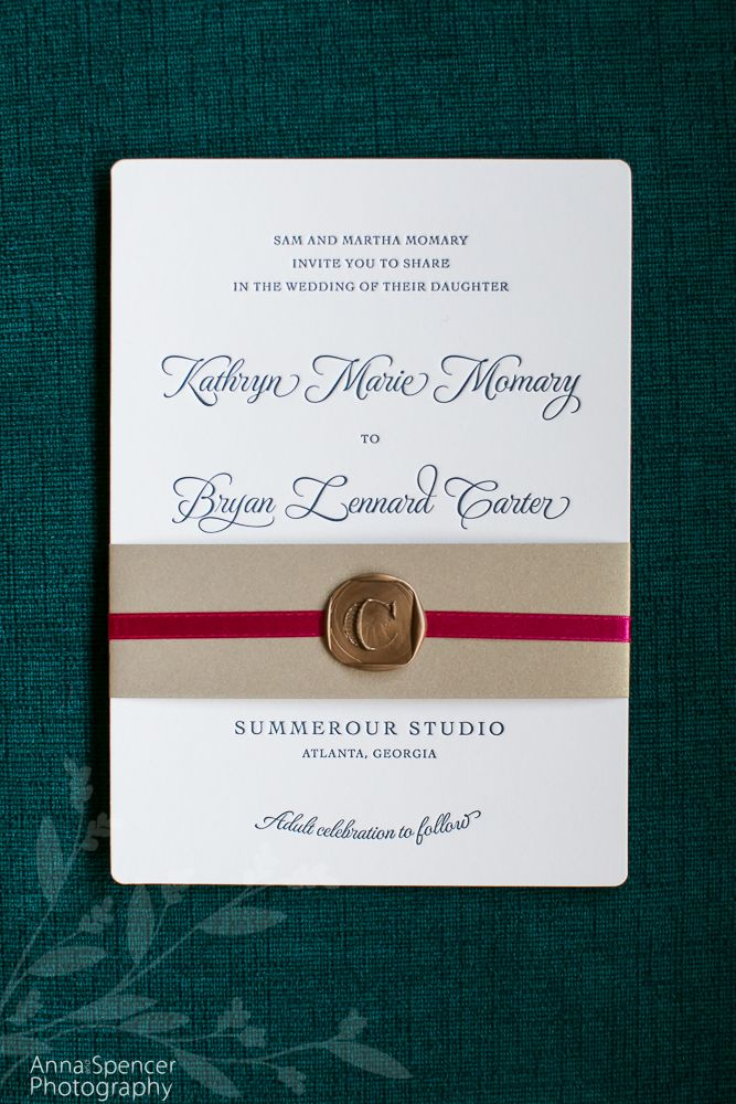 Anna And Spencer Photography , Atlanta Wedding Photographers . Turquoise  Font Letterpress Wedding Invitation .