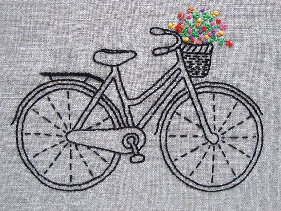 Vintage Bicycle Embroidery Kit by Sarah Milligan of