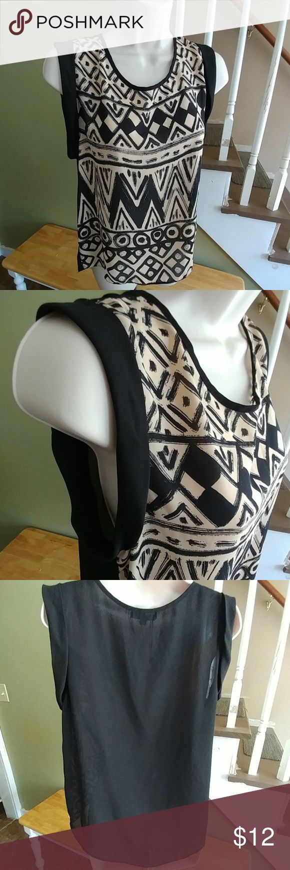 """Papermoon Sleeveless Hi-Lo Aztec Shirt-M NWOT New without tags! Length center back-26"""" Chest pit to pit-20"""" Medium Semi-Sheer Back paper moon Tops Blouses"""