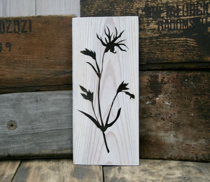 June meadow - firletka w hello Re na DaWanda.com (Lychnis flos-cuculi L.)  Wall or shelves decoration made of recycled wood.