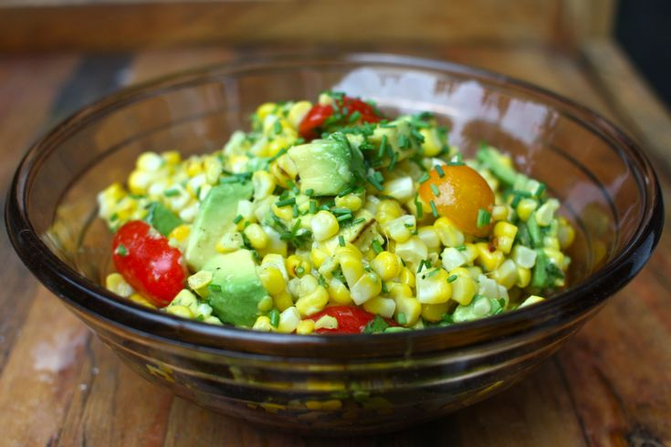 Avocado/Tomato/Corn Salad with basil, chives, olive oil, and lime ...