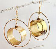 Hoop earrings with brass rings inside.