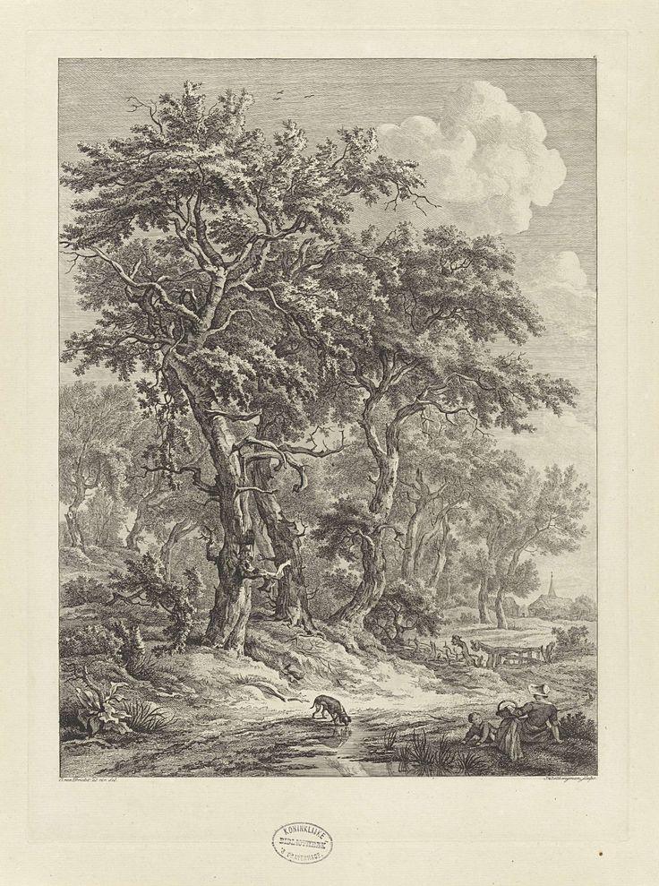 Hendrik Schwegman   Landschap bij Zuidlaren, Hendrik Schwegman, 1771 - 1816   Gezicht op het landschap bij Zuidlaren in Drenthe, waar een vrouw met haar kind op de grond zit en een hond uit een plas drinkt. Op de achtergrond een boerderij en kerktoren.