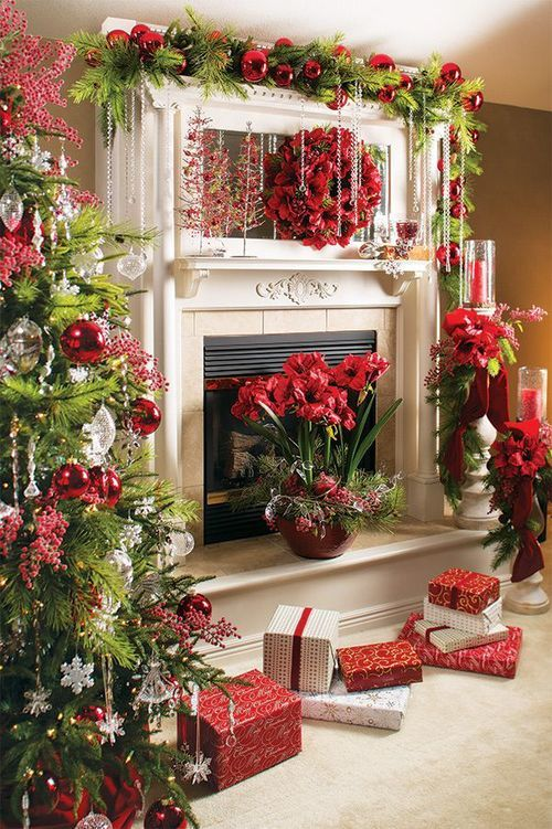 899 best christmas mantels images on pinterest christmas for Images of fireplace mantels decorated for christmas