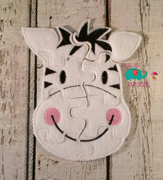 Felt zebra puzzle embroidered embroidery jigsaw by DesignsByRAJA