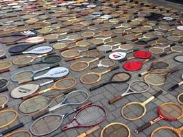 big lot of antique and vintage tennis rackets