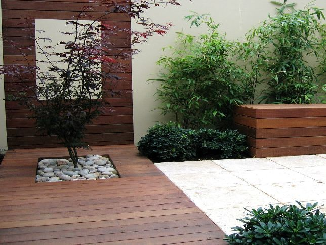 Modern landscape design same from a different view point for Modern garden decking designs