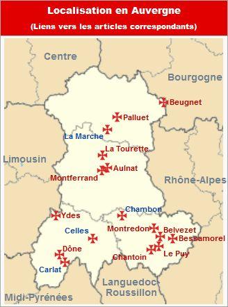 Commanderies templières en Auvergne, France