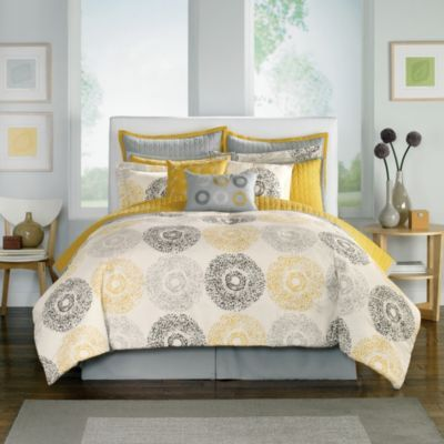 Medallion Comforter Super Set - BedBathandBeyond.com I'm a little worried my whole house is going to end up grey and yellow! :)