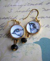 Blue Bird Earrings - Gold
