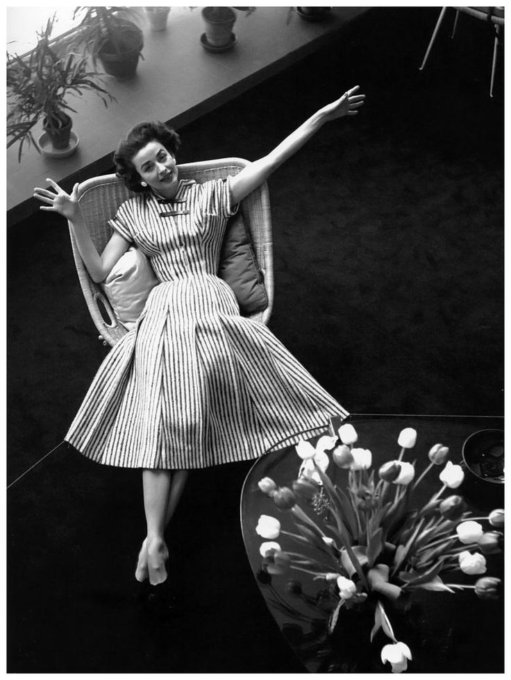 Dorian Leigh In A Pleated Dress With Leather Straps By Carven Photo Georges Dambier 1950s DressesVintage