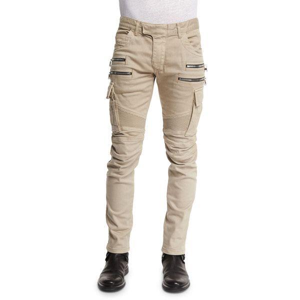 Balmain Slim Cotton Denim Biker Pants (1 950 AUD) ❤ liked on Polyvore featuring men's fashion, men's clothing, men's pants, men's casual pants, beige, mens slim fit pants, mens slim pants, mens tapered pants and mens bike pants