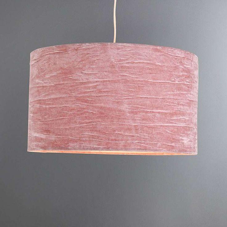 Lulu Large Pink Crushed Velvet Shade   Dunelm
