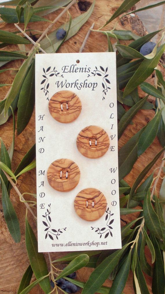 Set of four hand made Greek olive wood round by ellenisworkshop, $21.00