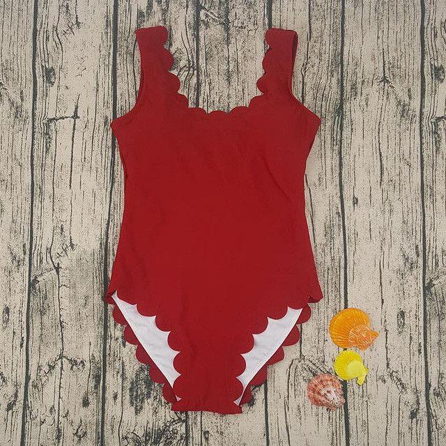 One Piece Swimsuit Women Ruffles Solid Classic Swimwear Female Bodysuit Slim Swim Suit New Bathing Suit