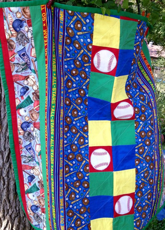Toddler Baseball Quilt  Hand and Machine Quilted by FabricCrazy, $35.00