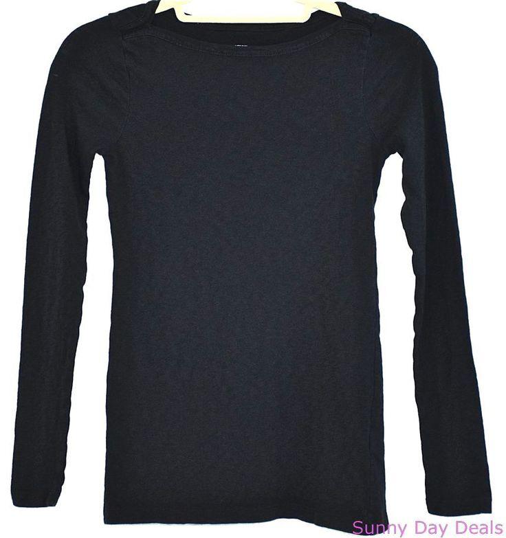 J.Crew Top Painter Knit Tee Boatneck Cotton Long Sleeve 49571 Black Solid XS #JCrew #KnitTop #Versatile