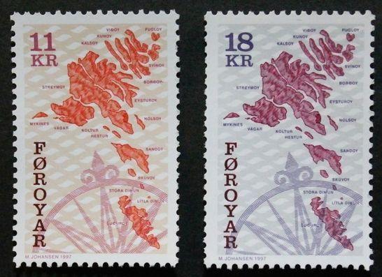 Maps stamps, 1997, Faroe Islands, SG ref: 302 & 306, 2 stamp set, MNH