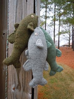 These small mouth bass are knit in the round. They are 12 inches long, but can easily be made larger or smaller by changing yarn weight and needle size.