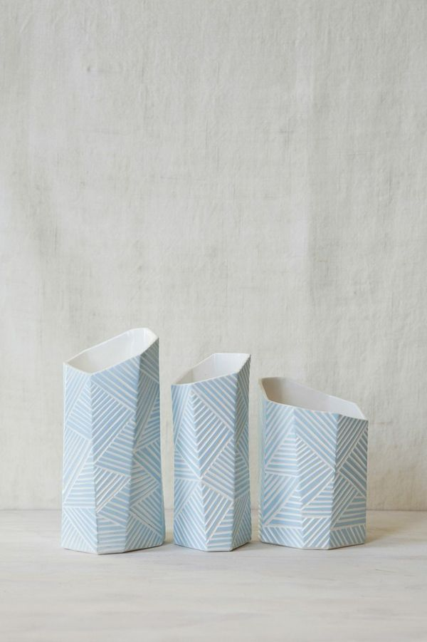 Form & Fable New Zealand handmade and hand carved faceted ceramic vases in white and light blue. Maori inspired design. Kaleidoscope Blog.