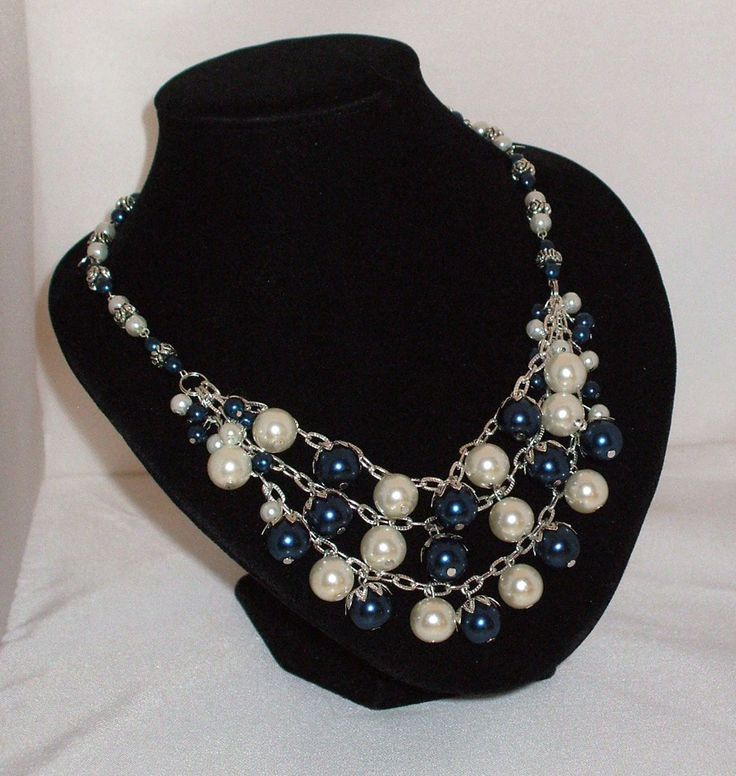 Pearl Cluster Necklace in Indigo and Cream $35   Available in many colours