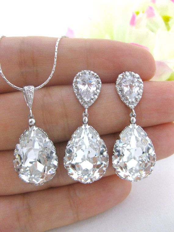 Swarovski Crystal Clear White Teardrop Earrings & Necklace Set Wedding Jewelry Bridesmaid Gift Bridal Earrings Bridesmaid Earrings (NE031)