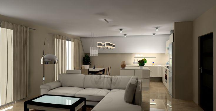 Salon z aneksem kuchennym w wystroju nowoczesnym zaaranżowany w kolorach wanilii i brązu. Salon połączony jest z kuchnią i jadalnią. Znajduje się w nim duży