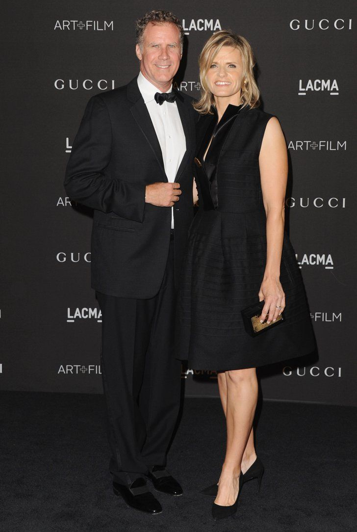 Pin for Later: Hot Hollywood Stars Trade Halloween Costumes For Red Carpet Glamour  Will Ferrell and Viveca Paulin coordinated in black.